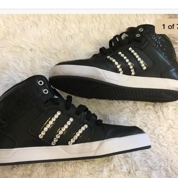 Adidas black rhinestone high tops size 10 Neo 517948f99